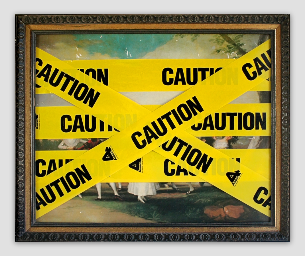 Chad Wys - Caution Goya - mixed media on found print and frame - 2010 - 21 x 25,5 x 1,5