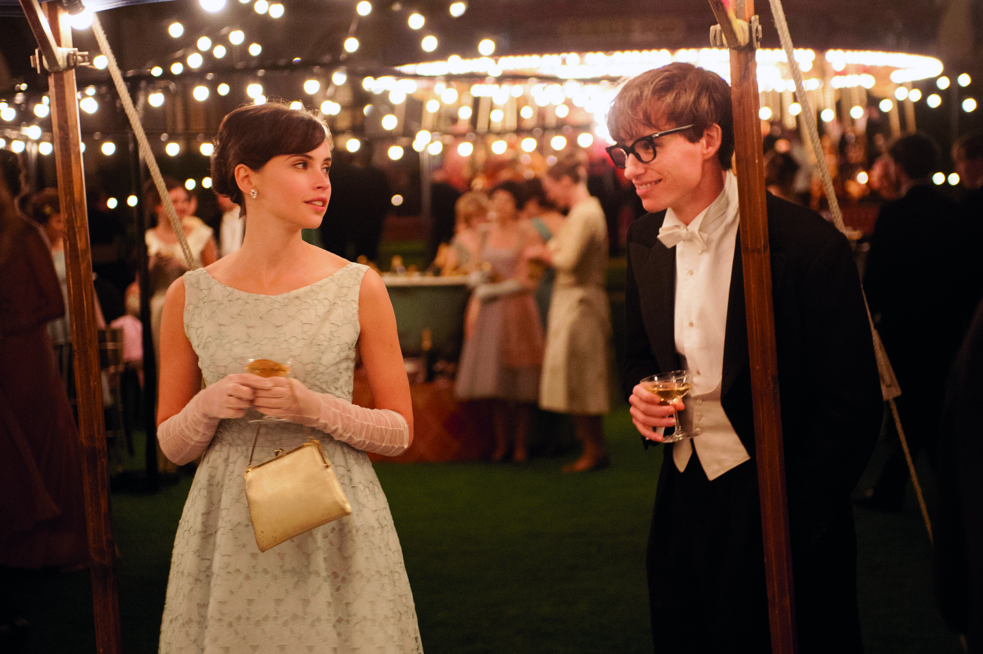 """Felicity Jones as Jane Wilde and Eddie Redmayne as Stephen Hawking in """"The Theory of Everything""""."""