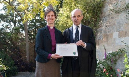 The Suffragan Bishop of Stockport, Libby Lane, receiving her honorary fellowship from the Master of Balliol, Mark Damazer. Image: Balliol College.