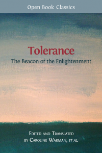 "A book cover featuring the words ""Tolerance: The Beacon of the Enlightenment"" set against a coloured background"