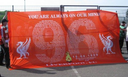 Memorial banner for those killed in the disaster