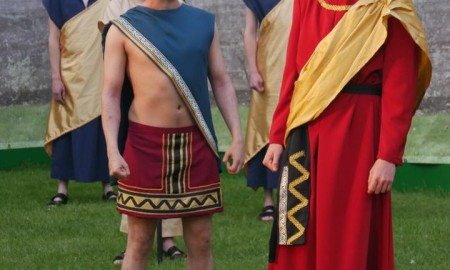 Creon (Edward Grigg) and Haemon (Daniel Haynes)