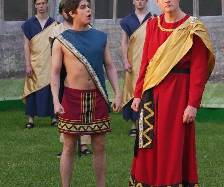 Creon (Edward Grigg) and Haemon (Daniel Haynes)