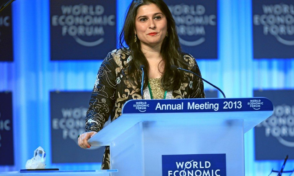 DAVOS/SWITZERLAND, 22JAN13 - Sharmeen Obaid Chinoy, Documentary Filmmaker, SOC Films, Pakistan talks during the Crystal Award Ceremony Exploring Arts in Society' at the Annual Meeting 2013 of the World Economic Forum in Davos, Switzerland, January 22, 2013.  Copyright by World Economic Forum  swiss-image.ch/Photo Sebastian Derungs