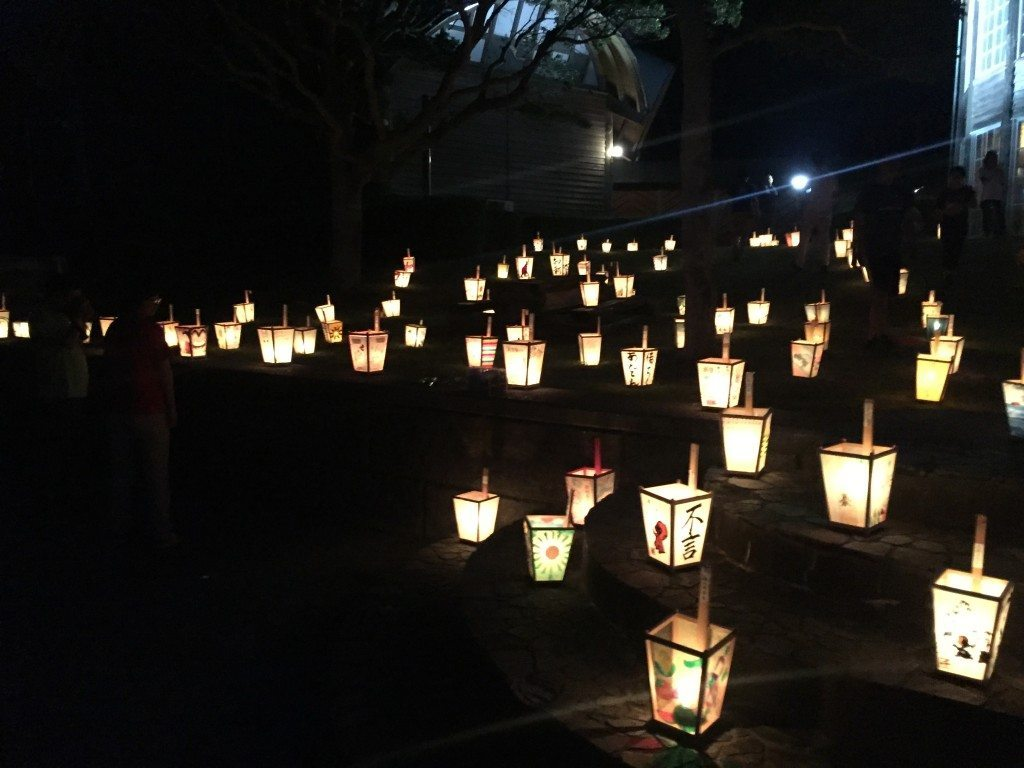 Hand-crafted Andon lanterns by night