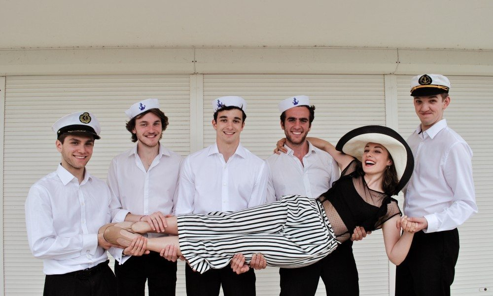 Erma (Rebecca Hamilton) and the Sailors (Laurence Jeffcoat, Oscar Hansen, Hugo Fleming, James Bruce, Josh Blunsden) - photo by Naomi Morris Omori