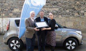 Pictured: Councillor John Tanner, Councillor David Nimmo Smith and winner Morgane de Salvage