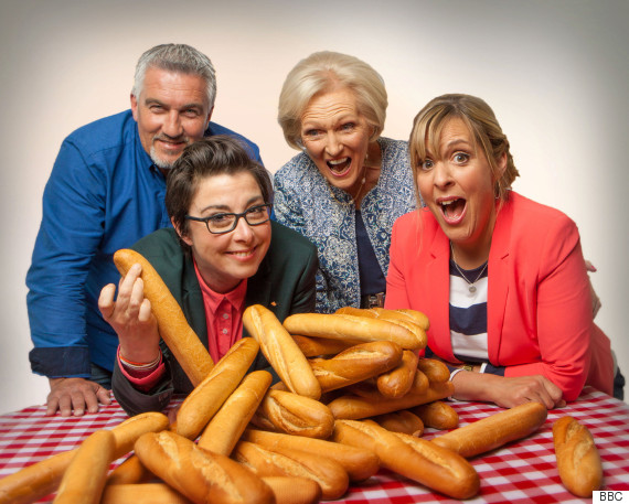 WARNING: Embargoed for publication until 18/08/2015 - Programme Name: The Great British Bake Off - TX: 26/08/2015 - Episode: n/a (No. 4) - Picture Shows:  Paul Hollywood, Sue Perkins, Mary Berry, Mel Giedroyc - (C) Love Productions - Photographer: Mark Bourdillon