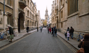 View along Turl Street, Oxford.  Exeter College to the left, Jesus College to the right, with All Saints' Church in the distance.