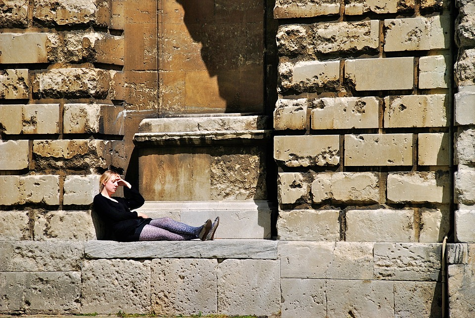 University Student Outdoors Tired Woman Oxford