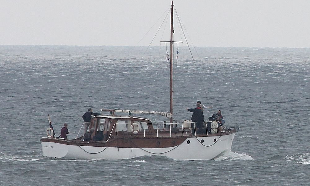 Christopher Nolan, Mark Rylance, and Tom Glynn-Carney aboard 'The Moonshine' filming 'Dunkirk.' Credit: Wikimedia Commons via Foxy59